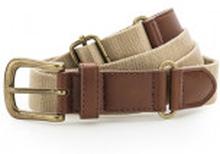 Faux Leather & Braid Belt Khaki