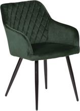 Carlo - Mørkegrøn velour stol med armlæn