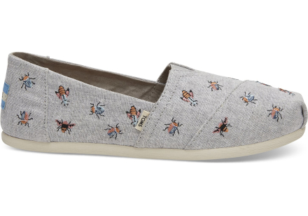 TOMS Schuhe Grau Chambray Embroidery Classics Für Damen - Größe 36