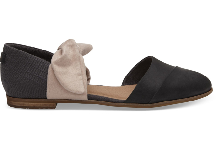 TOMS Schuhe Schwarz Leder Bow Jutti D'Orsay - Größe 40