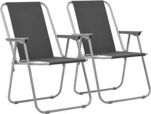 vidaXL foldbare campingstole 2 stk. 52 x 59 x 80 cm grå