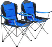 vidaXL foldbare campingstole 2 stk. 96 x 60 x 102 cm blå