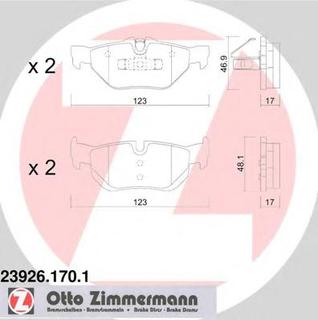 Bremseklosser sett ZIMMERMANN 23926.170.1