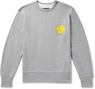 Printed Mélange Loopback Cotton-jersey Sweatshirt - Gray