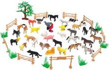 Bondgårdsdjur med staket och tillbehör 50 st delar
