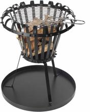Perel brændekurv med askebeholder rund sort BB650