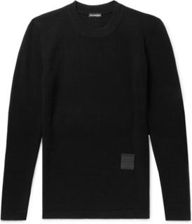Slim-fit Logo-appliquéd Ribbed Wool Sweater - Black
