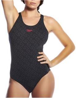 Speedo Monogram Pullback Swimsuit Black * Fri fragt på ordrer over 349 kr * * Kampagne *