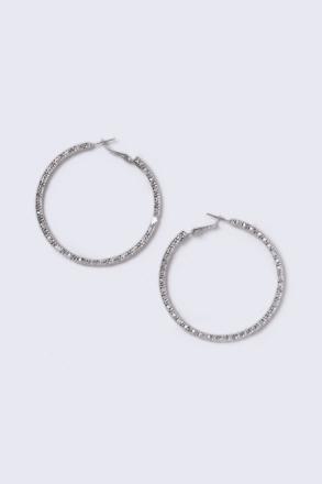 Silver Look Thick Textured Hoop Earrings