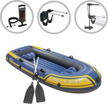 vidaXL Intex Uppblåsbar båt Challenger 3 med båtmotor och fäste