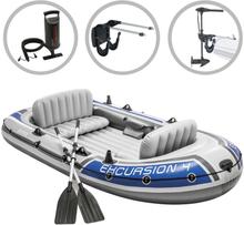 vidaXL Intex Uppblåsbar båt Excursion 4 med båtmotor och fäste
