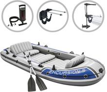 vidaXL Intex Uppblåsbar båt Excursion 5 med båtmotor och fäste