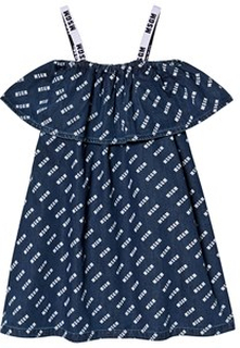 MSGM Blue Denim MSGM All Over Logo Ruffle Dress 8 years