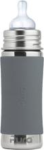Pura Kiki Trinkflasche - 325ml - Weithalssauger (inkl. Schutzkappe) - Grau