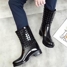 Waterproof rain boots female PVC mid boots women fashion rain shoes 2020 hot style girls rain boats
