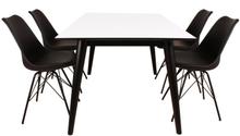 Essgruppe | Esstisch Weiß mit 4 Stühlen Schwarz - Nora