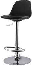 Barhocker Höhenverstellbar mit Lehne Schwarz | Küchenhocker - Adam