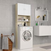 vidaXL vaskemaskineskab 64 x 25,5 x 190 cm spånplade hvid sonoma-egetræsfarve