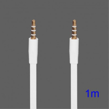 3,5mm aux kabel 1 meter Platt - Vit