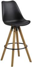 Barhocker mit Lehne Schwarz 75 cm (Großer Sitz) - Shell