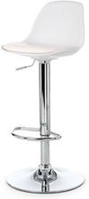 Barhocker Höhenverstellbar mit Lehne Weiß | Küchenhocker - Adam