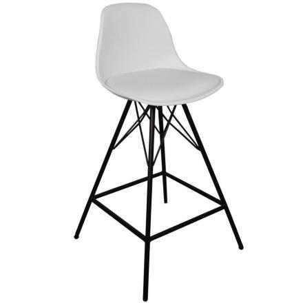 Barhocker mit Lehne Weiß 65 cm | Küchenhocker - Comfort
