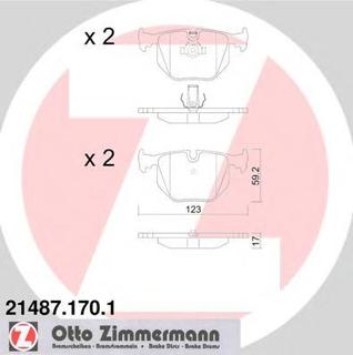 Bremseklosser sett ZIMMERMANN 21487.170.1