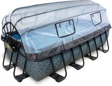 EXIT Stone pool 400x200x100cm med filterpumpe - grå m/dome