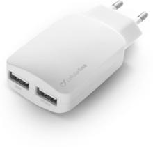 Cellularline Lader med 230V-stikk og 2 USB uttak, Hvit