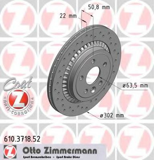 Bremseskive ZIMMERMANN 610.3718.52
