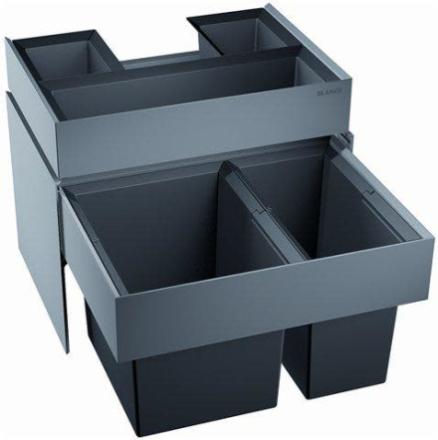 Blanco Select 60/2 ORGA Avfallssystem, 2 bøtter & skuffe, Monteres i skap med uttrekk