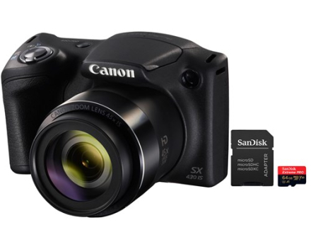 Canon PowerShot SX430 IS + 64GB MicroSD A1 C10 V30 UHS-I U3 (5011103819)