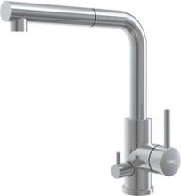 Primy Steel Vision D Kjøkkenbatteri m/Uttrekkbar tut & Uttak til Oppvaskemaskin, Rustfritt stål