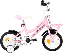 vidaXL Barncykel med frampakethållare 12 tum vit och rosa