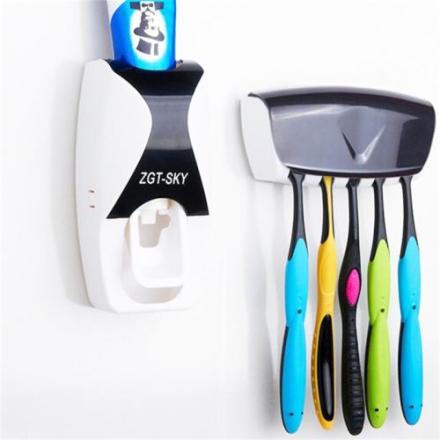 Automatisk tannkrem dispenser sett med 5 tannbørsteholder