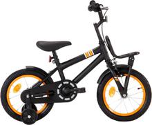 vidaXL Barncykel med frampakethållare 14 tum svart och orange