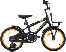 vidaXL Barncykel med frampakethållare 16 tum svart och orange