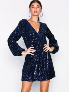 NLY Trend Perfect Velvet Sequins Dress Paljettklänningar Mörk Blå