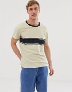 Selected Homme t-shirt with body stripe and pocket - Oyster gray