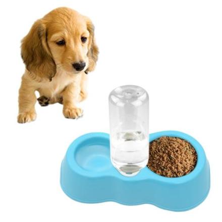 Drikkeskål til hund med automatisk drikkedispenser - Blå