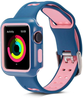 42mm Apple Watch Series 3/2/1 Smart Watch with 2 in 1 Sport Replacement Rubber Two-Colored Double-Button Silicone Watch Strap Bracelet with Watch Case Protective Shell for Men Women