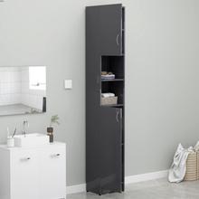 Badeværelsesskab 32x25,5x190 cm spånplade grå højglans