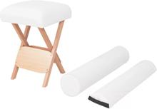 vidaXL Hopfällbar massagepall med 12 cm tjock sits och 2 bolster vit