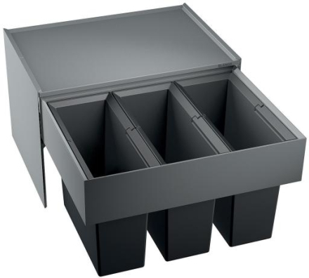 Blanco Select 60/3 Avfallssystem, 3 bøtter, Monteres i skap med uttrekk