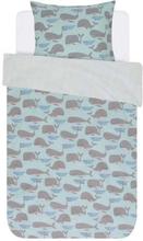 Junior sengetøj med hvaler - Covers & Co - 100x140 cm - 100% bomulds renforcé - Covers & Co Wally Aqua