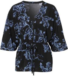 Cellbes Kort mönstrad kimono Svart Mönstrad