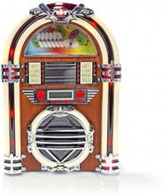 Jukeboxradio i bordsmodell FM/AM-radio och CD-spelare 3 W brun