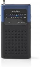 FM-radio | Portabel design | FM | Batteridriven | Analog | 1.5 W | Svart Vit Skärm | Hörlursuttag | Svart/Blå