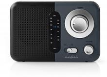 FM-radio | Portabel design | FM | Batteridriven / Strömadapter | Analog | 2.4 W | Svart Vit Skärm | Hörlursuttag | Bärhandtag | Svart/Grå