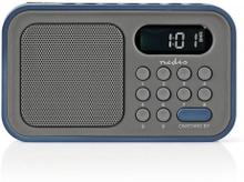 FM-radio   2.1 W   Klocka och alarm   Grå/blå